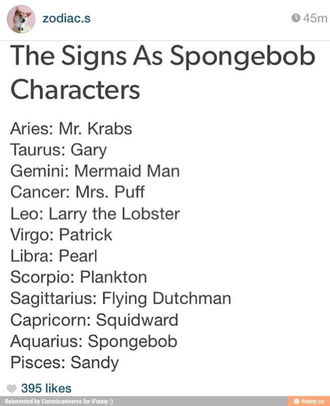 Book Of Zodiac Signs Spongebob Wattpad