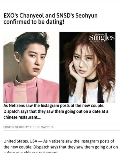 Seohyun and chanyeol dating