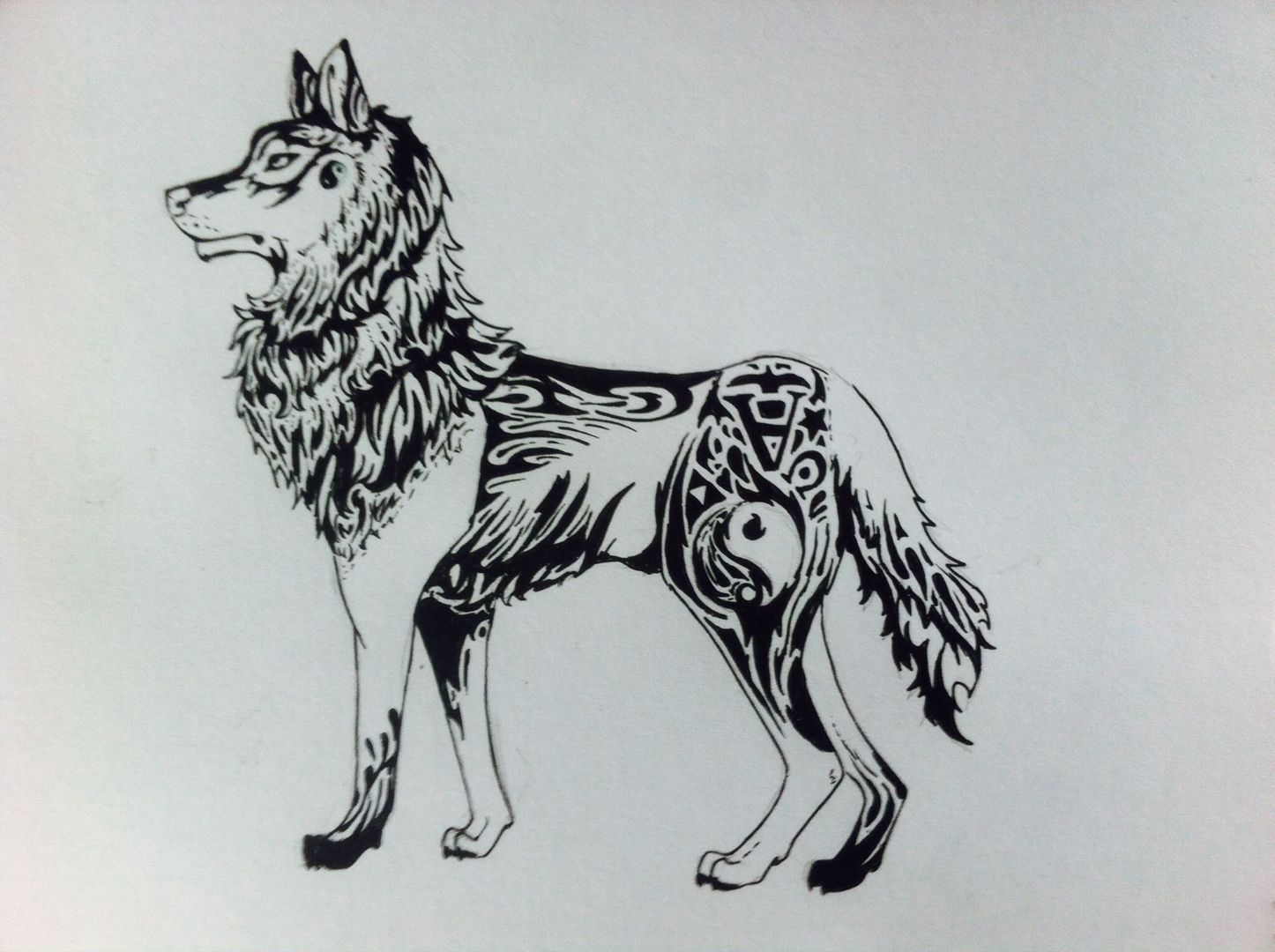 Dessins 2015 2016 dessin 20 loup tribal wattpad - Dessin de loup simple ...