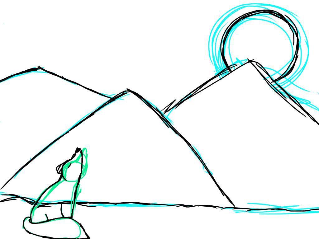 Drawings Dessin 2 Loup Qui Hurle A La Lune Wattpad