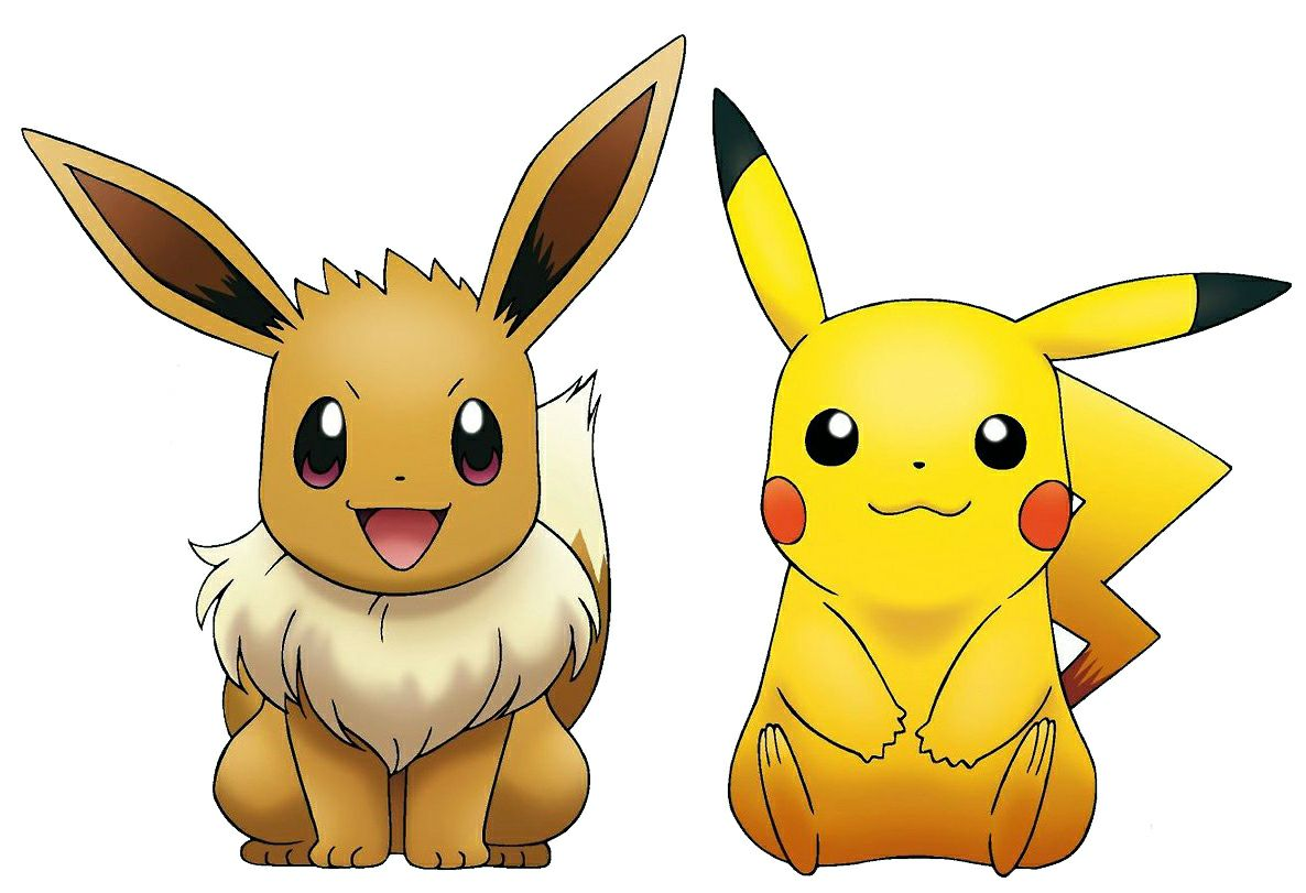 Pikachu and eevees tickle fight