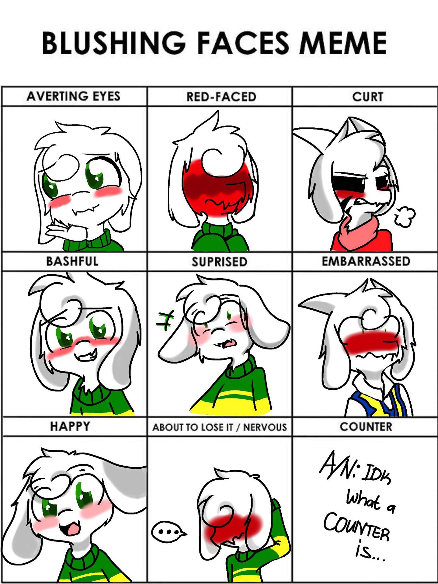14254a1bd61606a5 welcome back to art stuff with fawn! blushing meme (asriel version