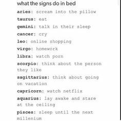 Zodiac Signs - What The Signs Do In Bed - Wattpad