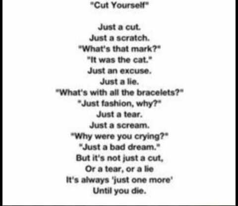 Quotes And Poems And Stuff   cut yourself   Wattpad