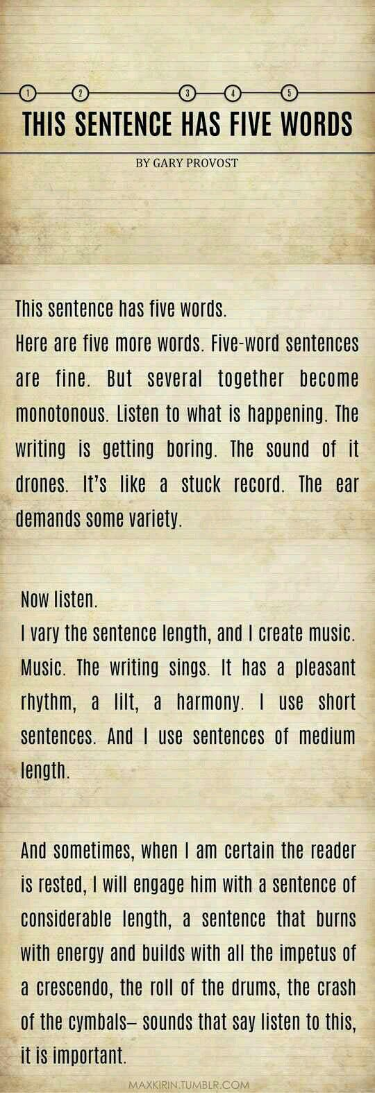 Random Writing Tips (Book 1) - Five Words Sentences? - Wattpad