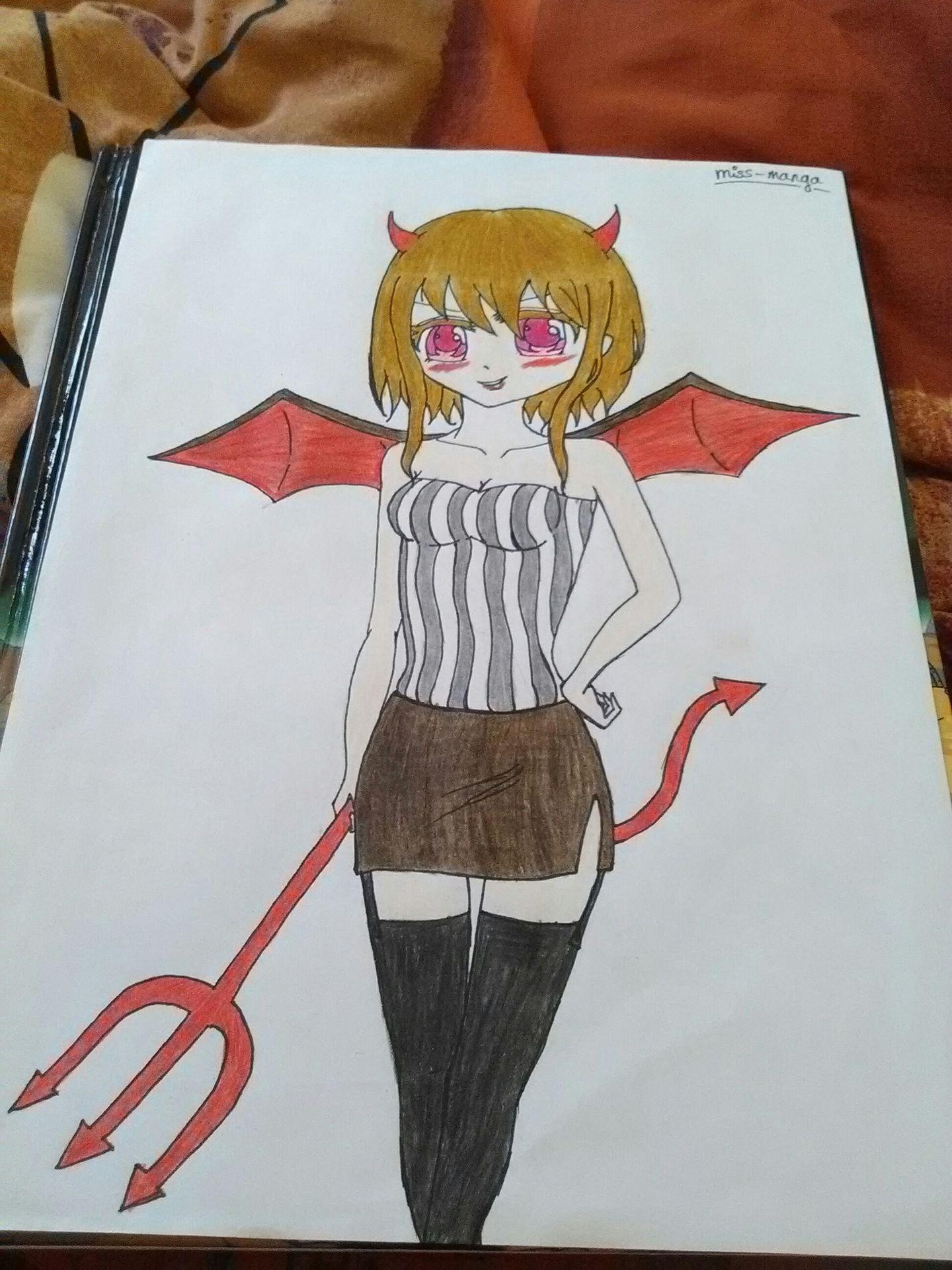 Mes dessins fille manga diable wattpad - Dessiner un diable ...