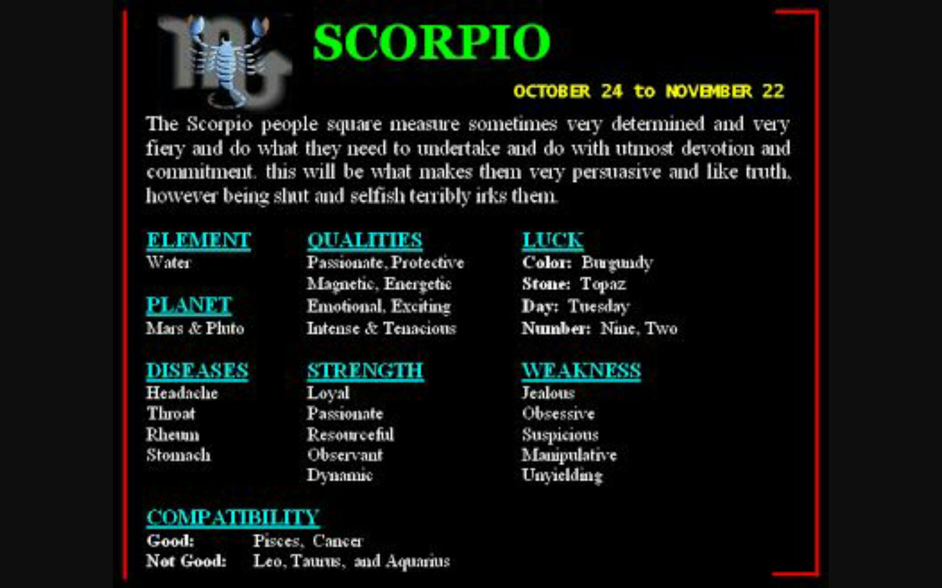 Zodiac Signs - Scorpio's compatibility with the signs ( part