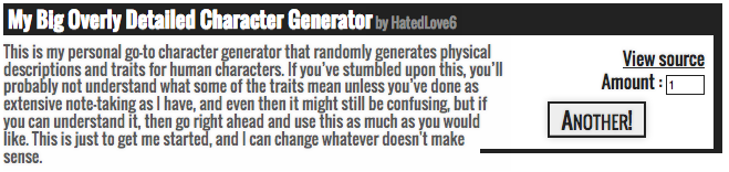 My Personal Book of Random Generators - OD: My Big Overly Detailed