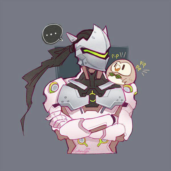 overwatch men X reader - Genji x neko! reader: the sparrow and the