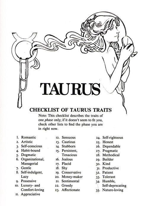 Random Zodiac Stuffz - Taurus Traits - Wattpad-9748