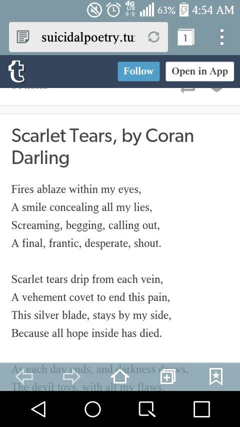 Suicidal Poems/Quotes - : Scarlet Tears : - Wattpad