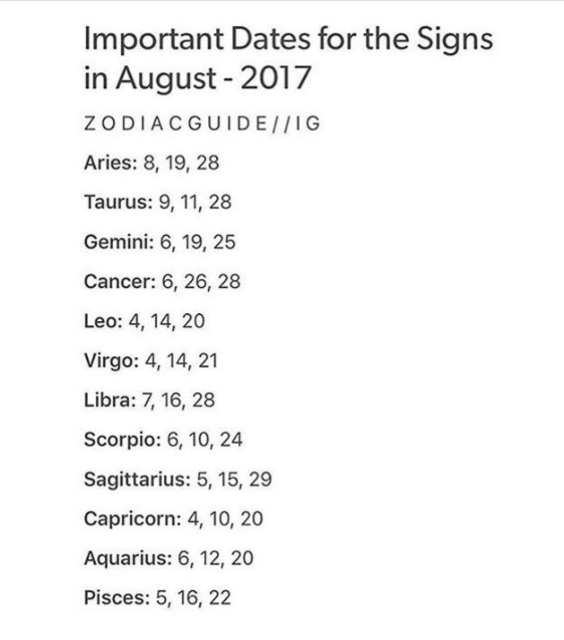 The Book Of Zodiac Signs Important Dates For The Signs In August