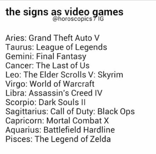 The Zodiac Signs 4 The Signs As Video Games Wattpad
