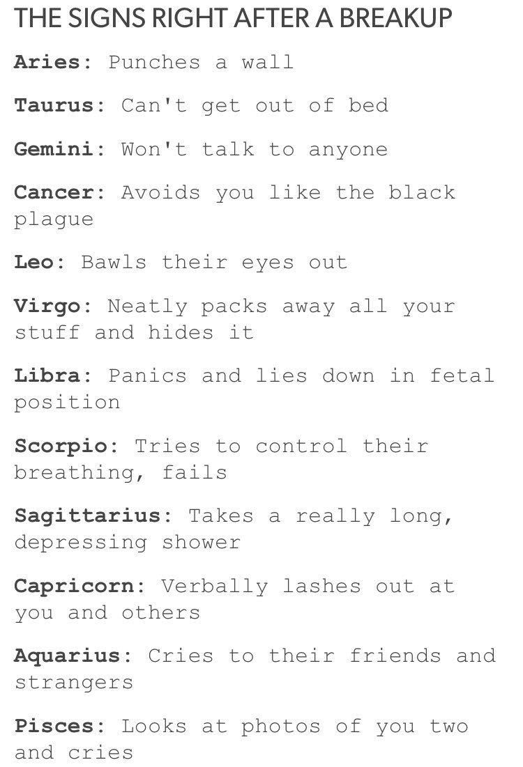 Zodiac Signs- The Sequel - The Signs After A Breakup - Wattpad