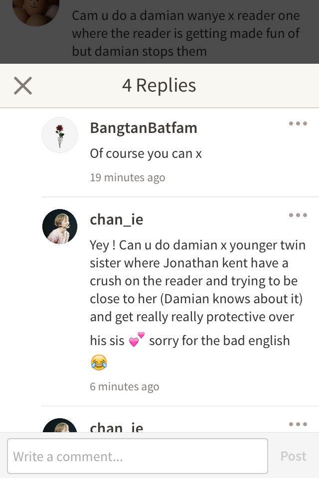 Batfam one shots - Damian x younger twin sister - Wattpad
