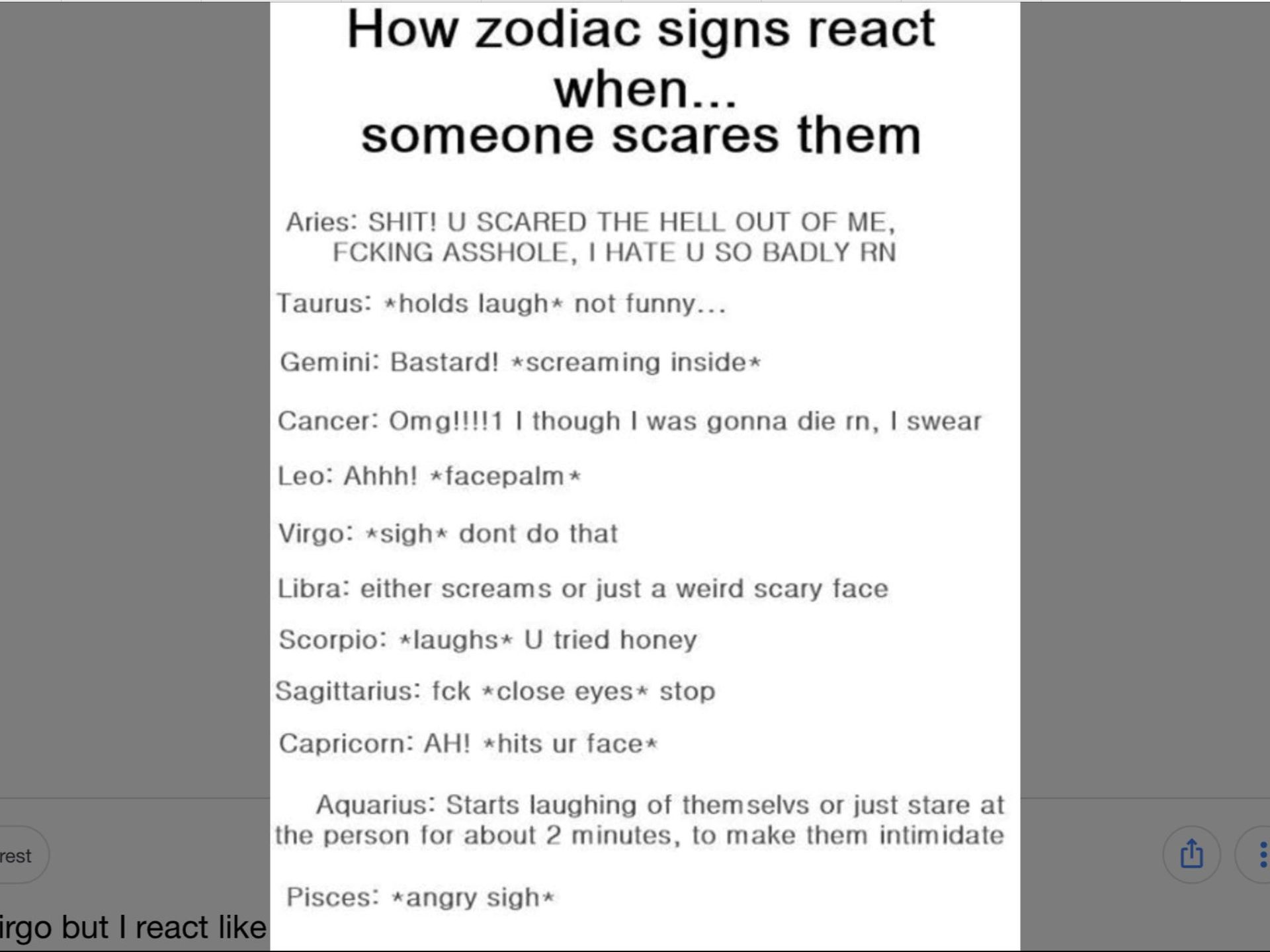 Zodiac crap - How the zodiacs react when someone scares them - Wattpad