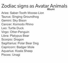 cosmic shadows - Zodiac Signs - Signs as Avatar (TLA/ LoK