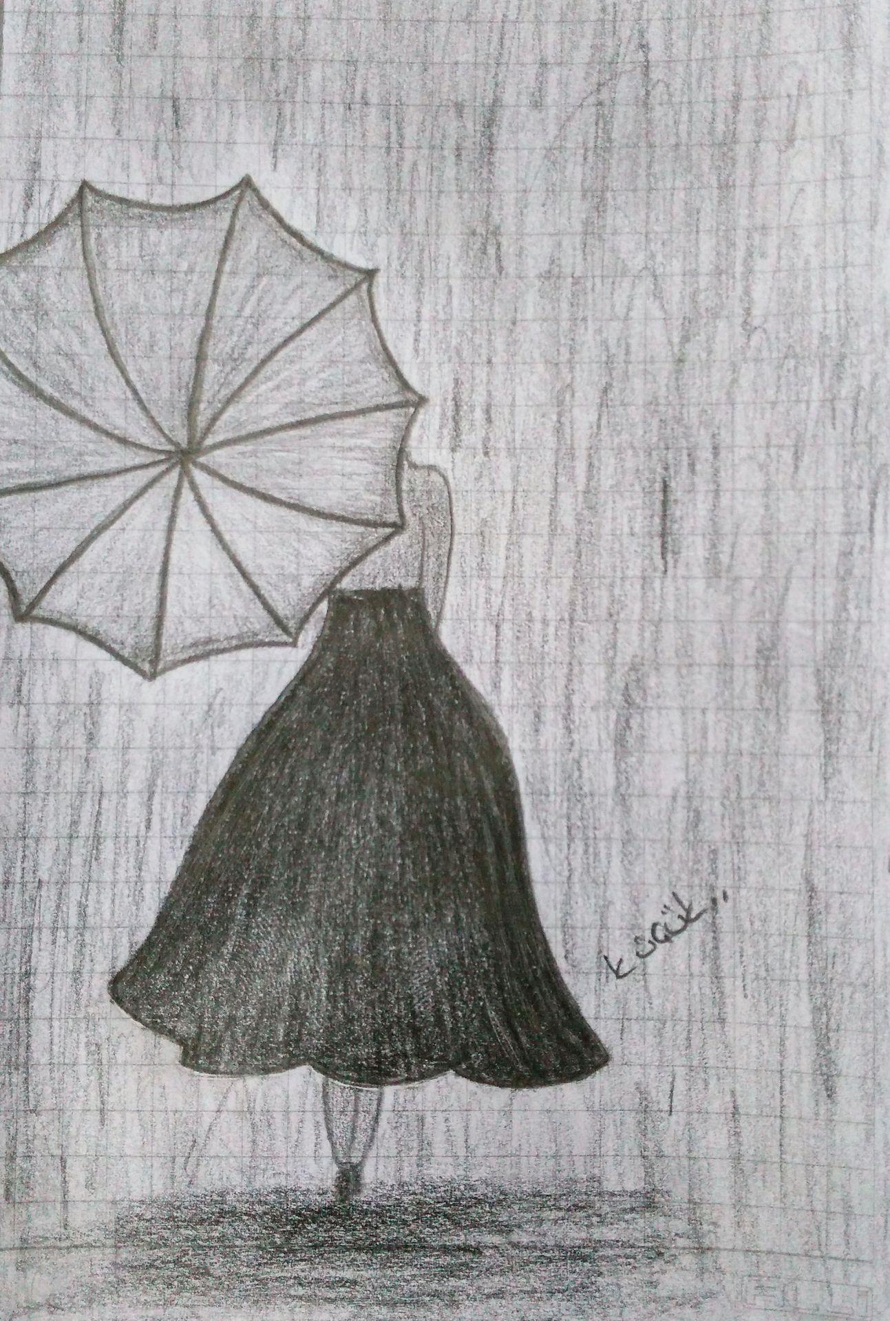 çizim Dünyam Yağmur Ve Kadın Wattpad