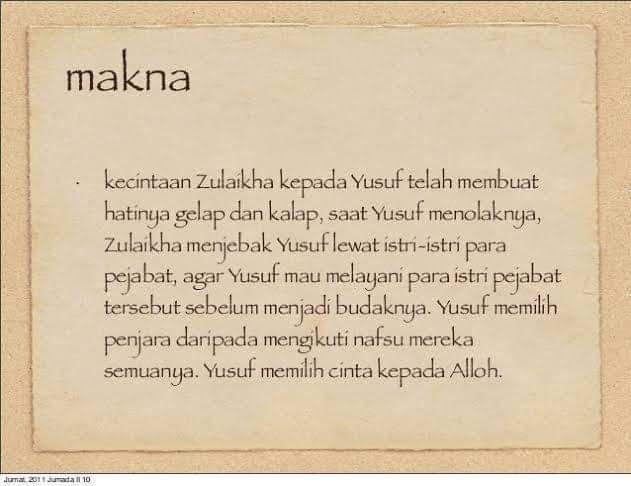 Cerita Zulaikha Mengejar Nabi Yusuf